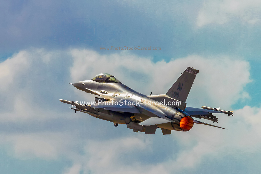 """United States Air Force (USAF) F-16C From Aviano AB. Photographed at the  """"Blue-Flag"""" 2017, an international aerial training exercise hosted by the Israeli Air Force (IAF) at Ouvda airfield, Israel. November 2017"""