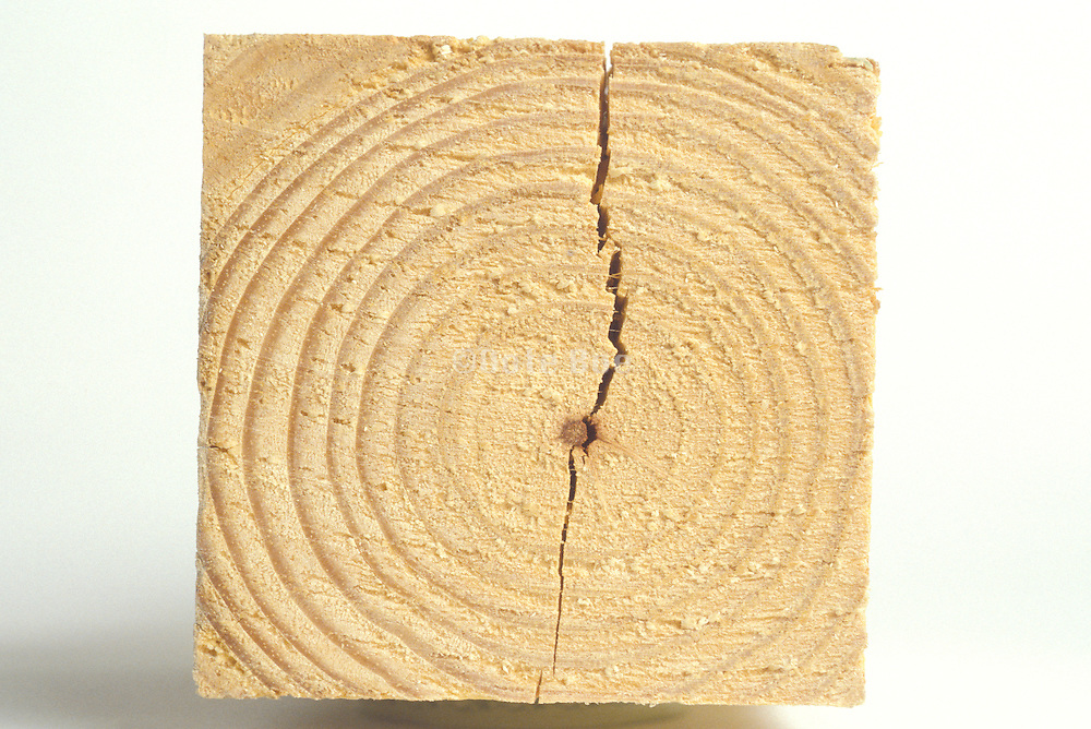 a block of wood with a crack.