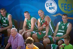 Slavko Kotnik, Rado Trifunovic, Marko Milic and Roman Horvat during exhibition match between Croatia, Italy and Slovenia at Eurobasket 2013 promotion Basketball on sea raft on August 24, 2013, Koper, Slovenia. (Photo by Matic Klansek Velej / Sportida.com)