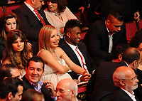 20120227: LISBON, PORTUGAL - SL Benfica 108th anniversary gala at Coliseu dos Recreios in Lisbon, Portugal.<br /> In photo: Singer and actress Luciana Abreu and football player Yannick Djalo.<br /> PHOTO: Alvaro Isidoro/CITYFILES