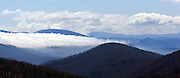 Low clouds over the mountain in the Blue Ridge.