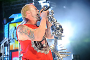 Five Finger Death Punch performing at the Family Arena in St. Charles, MO on October 31, 2011.