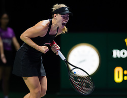 October 26, 2018 - Kallang, SINGAPORE - Angelique Kerber of Germany in action during her third match at the 2018 WTA Finals tennis tournament (Credit Image: © AFP7 via ZUMA Wire)