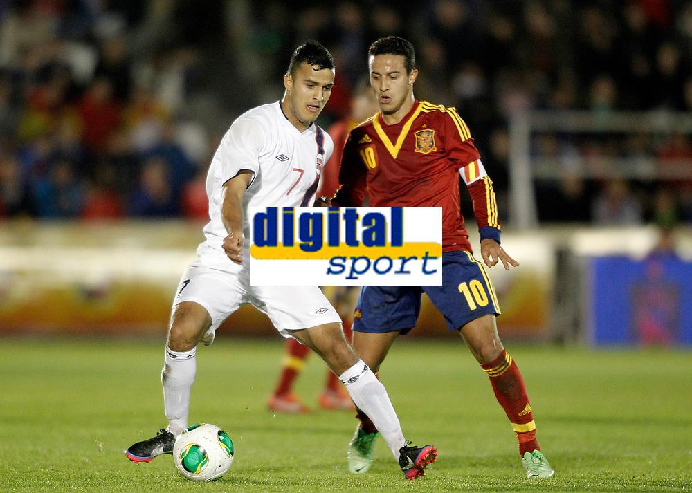 Spain's Thiago Alcantara (r) and Norway's Singh during international sub21 match.March 21,2013. (ALTERPHOTOS/Acero)