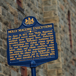 Historic Sign, Molly Maguire Executions in Jim Thorpe, Pennsylvania -