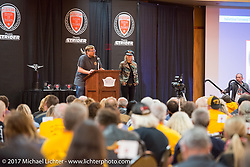 Mayor Mark Carstensen addresses the crowd with 2017 Sturgis Grand Marshall Jessi Combs on the stage at the Sturgis Motorcycle Hall of Fame 2017 Induction Breakfast during the annual Sturgis Black Hills Motorcycle Rally. Deadwood, SD. USA.  August 9, 2017.  Photography ©2017 Michael Lichter.