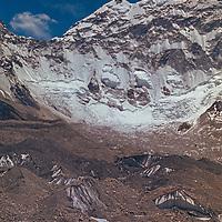 Baruntse Peak towers over the Imja Glacier In the Khumbu region of Nepal.