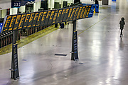 London Waterloo Station is seen nearly empty during rush hour as commuters work from home due to the coronavirus pandemic. Sunday, March 22, 2020. The British government is encouraging people to practice social distancing to help prohibit the spread of Coronavirus, further restrictions may be imposed if the public does not adhere to their advice. For most people, the new coronavirus causes only mild or moderate symptoms, such as fever and cough. For some, especially older adults and people with existing health problems, it can cause more severe illness, including pneumonia. (Photo/Vudi Xhymshiti) is seen as nearly empty as commuters work from home as well as tourism is paused due to the coronavirus pandemic. Sunday, March 22, 2020. The British government is encouraging people to practice social distancing to help prohibit the spread of Coronavirus, further restrictions may be imposed if the public does not adhere to their advice. For most people, the new coronavirus causes only mild or moderate symptoms, such as fever and cough. For some, especially older adults and people with existing health problems, it can cause more severe illness, including pneumonia. (Photo/Vudi Xhymshiti)