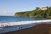 Mataiva Bay, black sand beach, Island of Tahiti, French Polynesia<br />