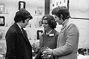 Aer Lingus Young Scientist of the Year..1971..08.01.1971..01.08.1971..8th January 1971..The annual Aer Lingus Young Scientist of the year was held in The R.D.S.Dublin.Once again, this year,there was an outstanding display of projects by school children from around the country,many of which,it is hoped,will have applications into the future. The main speaker at the event was Mr Patrick Faulkner TD, Minister for Education..Photograph of three pupils from Loreto Convent ,Youghal,Co Cork, who had projects in the exhibition. (L-R) Ms Joanne Shiel, Ms Agnes O'Brien, explaining her project on the study of dyes and Ms Helen Hegarty..