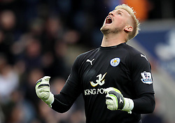 Leicester City's Kasper Schmeichel celebrates Leicester City opening goal - Photo mandatory by-line: Robbie Stephenson/JMP - Mobile: 07966 386802 - 09/05/2015 - SPORT - Football - Leicester - King Power Stadium - Leicester City v Southampton - Barclays Premier League