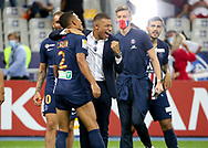 Kylian Mbappe of PSG celebrates the victory with Thiago Silva (left) following the French Ligue Cup final match between Paris Saint-Germain (PSG) and Olympique Lyonnais (OL, Lyon) on July 31, 2020 at the Stade de France, in Saint-Denis, near Paris, France - Photo Juan Soliz / ProSportsImages / DPPI