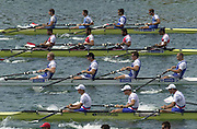 Munich, GERMANY 2001 FISA World cup Regatta. GBR Men's coxless four, (third from top) moving away from the start in their semi-final(Stk)Richard Dunn, Edward Coode, Steve  Williams and (Bow) Toby Garbett. [Mandatory Credit Peter Spurrier Intersport Images] 20010714 FISA World Cup. Munich, GERMANY
