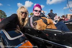 Karen Davidson and Skyler Keim-Jones, a Florida MDA goodwill ambassador in a Harley sidecar during Annual MDA Ladies Run to Destination Daytona sponsored by Harley-Davidson every year on the Tuesday of Daytona Beach Bike Week. FL, USA. March 10, 2015.  Photography ©2015 Michael Lichter.