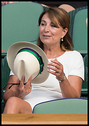 July 6, 2017 - London, London, United Kingdom - Image licensed to i-Images Picture Agency. 06/07/2017. London, United Kingdom. Carole Middleton trys on a panama hat  before checking the size and asking for another one when she was in the royal box  on Centre Court on day four of the Wimbledon Tennis Championships in London. Picture by Stephen Lock / i-Images (Credit Image: © Stephen Lock/i-Images via ZUMA Press)