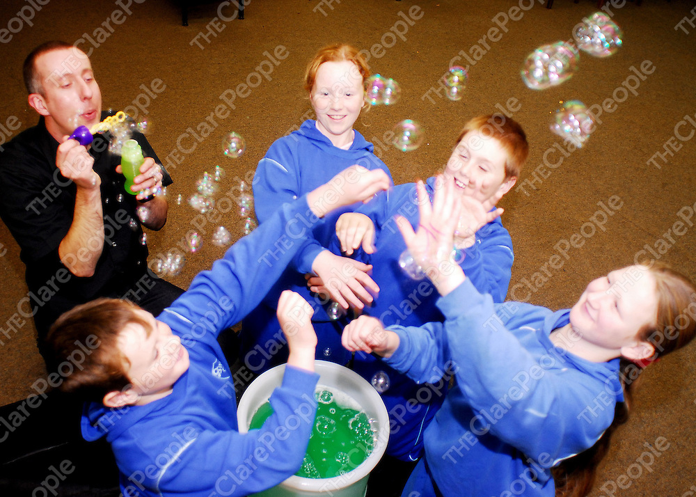 Pictured at a special Science Week 2006 event at De Valera Library, Ennis:  Bubble Master Steve Allman with students Ben Sweeney, Donna Doherty, Patrick McDonagh and Aoife O Neill