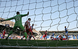 Sammie Szmodics of Peterborough United scores the winning goal past Alex Cairns of Fleetwood Town - Mandatory by-line: Joe Dent/JMP - 19/09/2020 - FOOTBALL - Weston Homes Stadium - Peterborough, England - Peterborough United v Fleetwood Town - Sky Bet League One