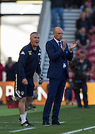 Leeds United FC Manager Uwe Rosler cheers his players during the Sky Bet Championship match between Middlesbrough and Leeds United at the Riverside Stadium, Middlesbrough, England on 27 September 2015. Photo by George Ledger.