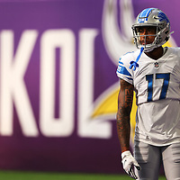 MINNEAPOLIS, MINNESOTA - OCTOBER 10: Trinity Benson #17 of the Detroit Lions watches during the pregame warm up against the Minnesota Vikings at U.S. Bank Stadium on October 10, 2021 in Minneapolis, Minnesota. The Vikings defeated the Lions with a three second remaining 55 yard field goal 19-17.(Photo by Adam Bettcher/Getty Images)