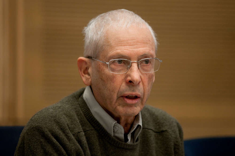Israeli Minister without portfolio Ze'ev Binyamin (Benny) Begin attends a session of the State Control Committee at the Knesset, Israel's parliament in Jerusalem, on February 6, 2012.