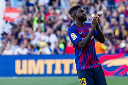 August 15, 2018 - Samuel Umtiti from Camerun during the Joan Gamper trophy game between FC Barcelona and CA Boca Juniors in Camp Nou Stadium at Barcelona, on 15 of August of 2018, Spain. (Credit Image: © AFP7 via ZUMA Wire)