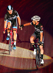 October 26, 2017 - London, England, United Kingdom - Ryan Boussaer (BEL) (BLACK) and Jules Hesters (BEL)(RED) winner of the..40km Madison 1878 Cup during day three of the London Six Day Race at the  Lee Valley Velopark Velodrome on October 26, 2017 in London, England. (Credit Image: © Kieran Galvin/NurPhoto via ZUMA Press)