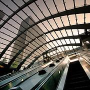 Canary Wharf escalators, London, England (June 2005)