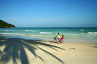 Sao Beach Palm Shadow - On the east side of Phu Quoc lie some of the most beautiful beaches on the island; one of the best beaches on Phu Quoc is isolated Sao beach although getting there is a bit tricky.