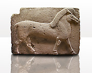 Picture of Phrygian releif sculpture Orthostat of a horse from Kucukevier, Ankara, Turkey. Museum of Anatolian Civilisations, Ankara. 7th century BC. Note the stylised leg muscels. 3 .<br /> <br /> If you prefer you can also buy from our ALAMY PHOTO LIBRARY  Collection visit : https://www.alamy.com/portfolio/paul-williams-funkystock/phrygian-antiquities.html  - Type into the LOWER SEARCH WITHIN GALLERY box to refine search by adding background colour, place, museum etc<br /> <br /> Visit our CLASSICAL WORLD PHOTO COLLECTIONS for more photos to download or buy as wall art prints https://funkystock.photoshelter.com/gallery-collection/Classical-Era-Historic-Sites-Archaeological-Sites-Pictures-Images/C0000g4bSGiDL9rw