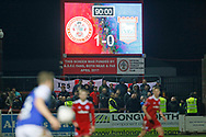 The scoreboard shows 1-0 to Accrington in injury time during the The FA Cup 3rd round match between Accrington Stanley and Ipswich Town at the Fraser Eagle Stadium, Accrington, England on 5 January 2019.