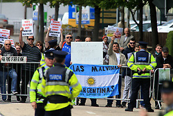 © Licensed to London News Pictures. 25/05/2016. Donegal, Ireland, Protesters gather outside Institute of Technology at the visit of Britain's Prince Charles and his wife Camilla in Letterkenny, County Donegal. Prince Charles is on the final day of a 3 trip to Northern Ireland and the Irish Republic.  Photo credit: Paul McErlane/LNP
