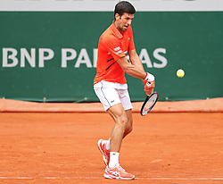 May 30, 2019 - Paris, France - Novak Djokovic (SRB) plays a backhand during the French Open Tennis at Stade Roland-Garros, Paris on Thursday 30th May 2019. (Credit Image: © Mi News/NurPhoto via ZUMA Press)