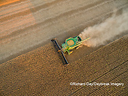 63801-09318 Soybean Harvest, John Deere combine harvesting soybeans - aerial - Marion Co. IL