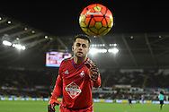 Swansea goalkeeper Lukasz Fabianski retrieves the ball. Barclays Premier league match, Swansea city v Leicester city at the Liberty Stadium in Swansea, South Wales on Saturday 5th December 2015.<br /> pic by  Andrew Orchard, Andrew Orchard sports photography.