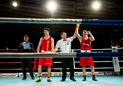 Denis Lazar of Slovenia (BLUE) won against Umar Dzambekov of Austria (RED) in Elite 81 kg Category<br />  during Dejan Zavec Boxing Gala event in Sentilj, on September 30, 2017 in Mond, Casino & Hotel, Sentilj, Slovenia. Photo by Vid Ponikvar / Sportida