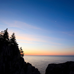 Sunrise as seen from the Bold Coast trail in Cutler, Maine. Cutler Coast Public Reserved Land.