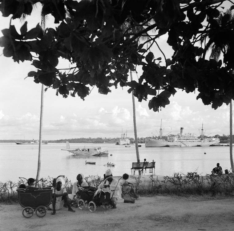 SS Adolph Woermann in Harbor, Dar-es-Salaam, Tanganyika (now Tanzania), Africa, 1937