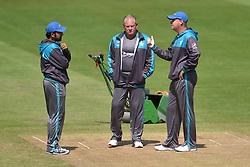 (left to right) Pakistan captain Sarfraz Ahmed , fielding coach Steve Rixon and head coach Mickey Arthur during the nets session at Cardiff Wales Stadium.