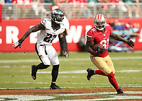 28 September 2014: Anquan Boldin of the San Francisco 49ers eludes Malcolm Jenkins during an NFL American Football Herren USA game between the Niners and the Philadelphia Eagles at Levi s Stadium in Santa Clara, CA. The 49ers won the game 26-21. NFL American Football Herren USA SEP 28 Eagles at 49ers PUBLICATIONxINxGERxSUIxAUTxHUNxRUSxSWExNORxONLY Icon464278021<br />