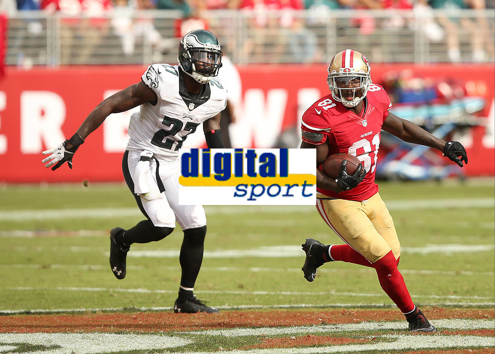 28 September 2014: Anquan Boldin of the San Francisco 49ers eludes Malcolm Jenkins during an NFL American Football Herren USA game between the Niners and the Philadelphia Eagles at Levi s Stadium in Santa Clara, CA. The 49ers won the game 26-21. NFL American Football Herren USA SEP 28 Eagles at 49ers PUBLICATIONxINxGERxSUIxAUTxHUNxRUSxSWExNORxONLY Icon464278021<br /> <br /> 28 September 2014 Anquan Boldin of The San Francisco 49ers Eludes Malcolm Jenkins during to NFL American Football men USA Game between The Niners and The Philadelphia Eagles AT Levi s Stage in Santa Clara Approx The 49ers Won The Game 26 21 NFL American Football men USA Sep 28 Eagles AT 49ers PUBLICATIONxINxGERxSUIxAUTxHUNxRUSxSWExNORxONLY Icon464278021