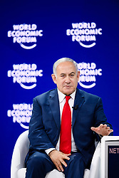 """HANDOUT - Benjamin Netanyahu, Prime Minister of Israel during the Session """"A Conversation with Benjamin Netanyahu, Prime Minister of Israel"""" at the Annual Meeting 2018 of the World Economic Forum in Davos, January 25, 2018. Photo by Manuel Lopez/World Economic Forum via ABACAPRESS.COM"""