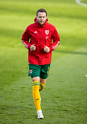 DUBLIN, REPUBLIC OF IRELAND - Sunday, October 11, 2020: Wales' Connor Roberts during the pre-match warm-up before the UEFA Nations League Group Stage League B Group 4 match between Republic of Ireland and Wales at the Aviva Stadium. The game ended in a 0-0 draw. (Pic by David Rawcliffe/Propaganda)