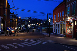 Friday Evening in Portsmouth NH. Bow Street at Market Street
