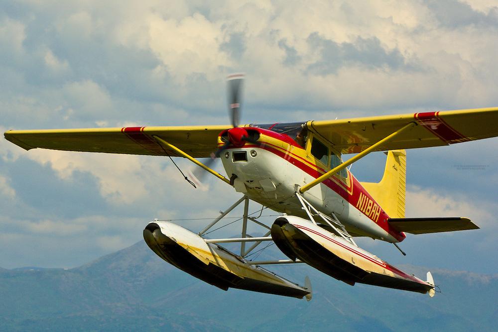 Seaplane landing at Lake Hood Seaplane Base (the busiest seaplane base in the world), Anchorage, Alaska