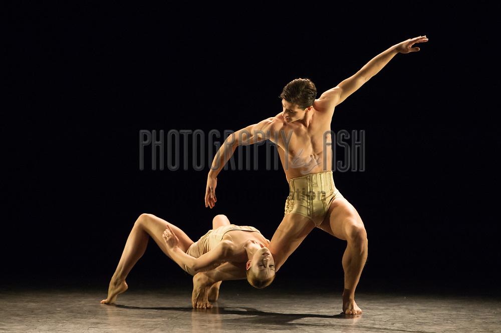 Ksenia Ovsyanick & James Forbat perform during Jiří Kylián's Petite Mort during English National Ballet's dress rehearsal for their Modern Masters triple bill at Sadler's Wells Theatre, London on March 09, 2015. Photo: Arnaud Stephenson