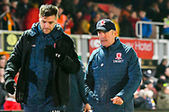 Middlesbrough manager Tony Pulis at half time during the The FA Cup match between Newport County and Middlesbrough at Rodney Parade, Newport, Wales on 5 February 2019.