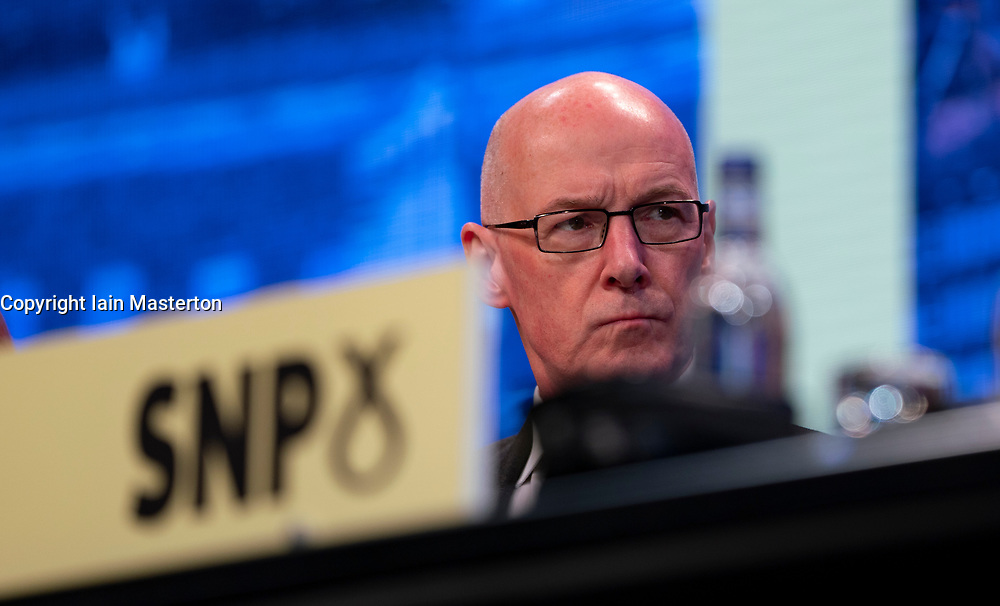 Edinburgh, Scotland, UK. 27 April, 2019. SNP ( Scottish National Party) Spring Conference takes place at the EICC ( Edinburgh International Conference Centre) in Edinburgh. John Swinney MSP , Deputy First Minister and Cabinet Secretary for Education and Lifelong Learning. during welcome address at conference Day 1.