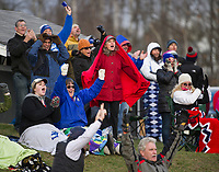 Interlakes fans cheer a touchdown during Saturday's NHIAA semi final football with Winnisquam.  (Karen Bobotas/for the Laconia Daily Sun)