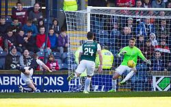 Raith Rovers Jon Daly scoring their goal. <br /> Raith Rovers 1 v 2 Hibernian, Scottish Championship game played 24/10/2015 at Starks Park.