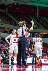 NORMAL, IL - November 20:  Referee Barb Smith works a free throw during a college women's basketball game between the ISU Redbirds and the Huskies of Northern Illinois November 20 2019 at Redbird Arena in Normal, IL. (Photo by Alan Look)